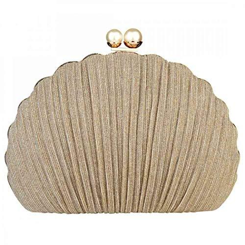 Damen Abendtasche, Muschelperle, Clutch, Handtasche, Schultertasche, Brautschmuck, Abschlussball, Party Gr. One size, gold
