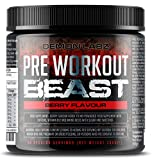 Pre Workout Beast (Berry Flavour) - Hardcore pre-Workout Supplement with Creatine, Caffeine, Beta-Alanine and Glutamine (Regular - 306 Grams - 40 Servings)