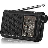 Retekess V117 Radio Portatile Tascabile AM/FM/SW 3 Bande con Manopola di Regolazione Tipo Cilindrico (Nero)