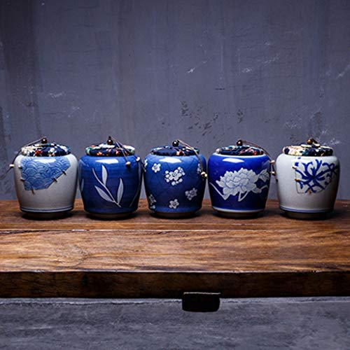 Fantastic Deal! RFSTGYU Vintage Porcelain Tea Tin Retro Hand-Painted Storage Jars, Tea Storage Tea C...