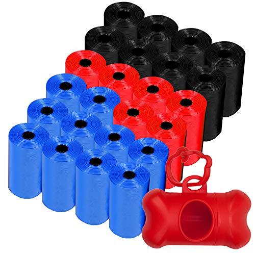 Sacchetti per escrementi cani (360) e un dispenser di sacchetti per le feci del cane, il set include 360 sacchetti in 24 rotoli da 15 sacchetti per cani (dispenser rosso).