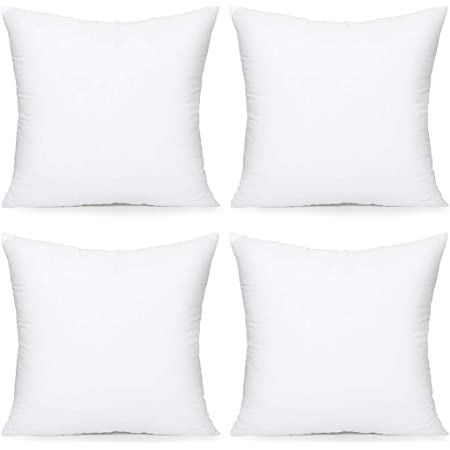 Amazon Com Acanva Throw Pillow Inserts Decorative Stuffer Soft Hypoallergenic Polyester Couch Square Form Euro Sham Cushion Filler 18 4p White 4 Count Home Kitchen