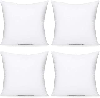 Acanva Throw Pillow Inserts Decorative Stuffer Soft Hypoallergenic Polyester Couch Square Form Euro Sham Cushion Filler, 18-4P, White 4 Pack