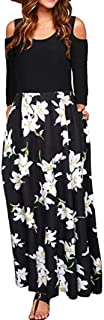 Maxi Dress, Women 2020 Cold Shoulder Long Sleeve Boho Floral Long Beach Dresses Cocktail Party Dress with Pocket