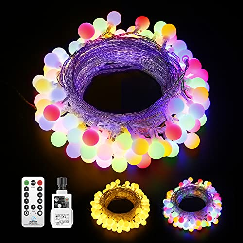 Globe Fairy String Lights Plug in Mains Power,15M100 LED Fairy Lights String Waterproof 9 Modes Remote Control,Garden Lights Decor for Patio Bedroom Party Indoor/Outdoor-Warm White Multicolored