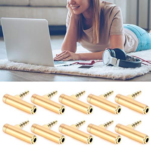 Conector de audio para auriculares, conector de audio para auriculares Conector de codo de 90 grados, macho a hembra para teléfonos móviles Cámaras digitales Computadoras portátiles para(Golden)