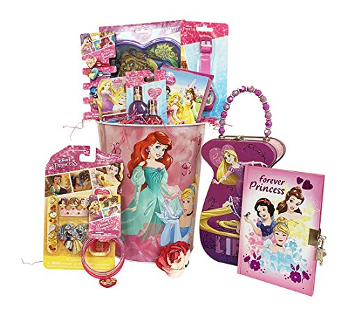Girls Gift Baskets – Disney Princess Themed Christmas Kids Gift Baskets, Gifts Idea for Girls Wish her Happy Birthday, Get Well (10 Jewelry & Cosmetics Items)