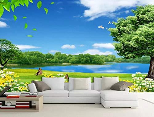 Papel Pintado 3D Murales Cielo azul, sol, océano - Fotomurales Para Salón Natural Landscape Foto Mural Pared, Dormitorio Corredor Oficina Moderno Festival Mural 200x150 cm - 4 tiras