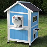 ROCKEVER Feral Cat Shelter Outdoor with Escape Door Rainproof Outside Cat House Two Story for Three-Four Cats Color Blue