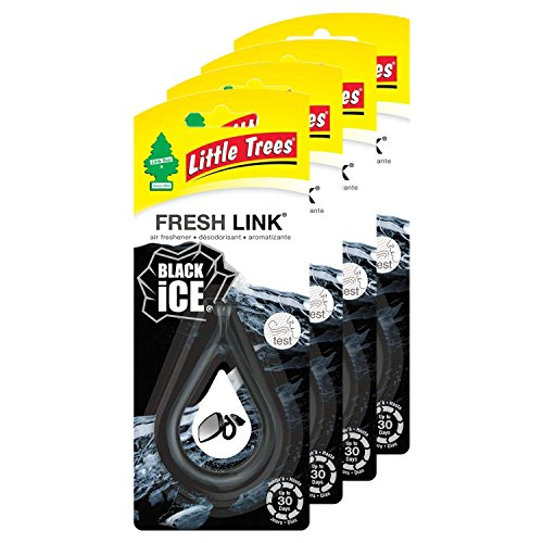 Little Trees - CTK-52031-24-CHPA Car Air Freshener | Fresh Link Provides a Long-Lasting Scent for Auto or Home CTK-52031-24-AMA| Clips Anywhere | Black Ice, 4-Pack