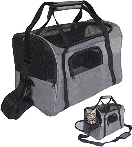 KJDSW Bolsa de Transporte para Mascotas - Bolsa Mediana Segura de Malla de Lados Suaves y Transpirable para Mascotas pequeñas Gatos Perros Viaje al Aire Libre portátil Plegable
