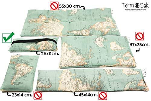 TERMOSAK + cinta 26x11 cm, Cojín térmico modulado con separaciones, saco térmico hot-cold (calor/frio) de semillas alta densidad y lavanda. (26x11 cinta, Verde)