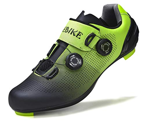 MEBIKE Mens Road Cycling Shoes Mens Look Delta Bike Shoes Mens Indoor Cycling Shoes SPD Lock MTB Bicycle Cycling Shoes for Men (Black/Green, Numeric_9_Point_5)