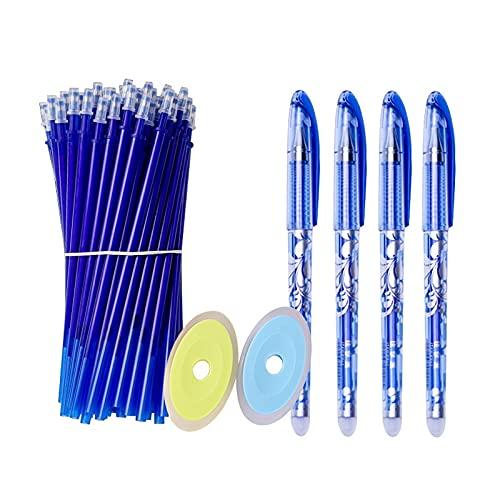 PPuujia Juego de 56 bolígrafos de gel borrables para bolígrafo de 0,5 mm, mango lavable, bolígrafo mágico borrable para oficina, escuela, escritura, papelería Kawaii (color azul, 56 unidades)
