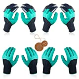 4 Pairs Garden Genie Gloves with Fingertips Claws, Ideal Gifts for Parents and Gardeners, Perfect for Digging Weeding Seeding Poking Planting. (Bonus the Gift Card)