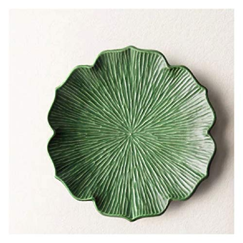WUHUAROU Plato Occidental Pasta Pizza Fruta Vajilla Plato de cerámica Hogar Gran Bandeja de té Creativa Hecho a Mano Japonés (Size : 24.5cm*3.5cm)