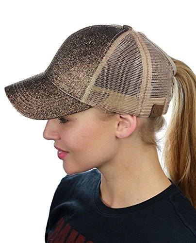 C.C Ponycap Messy High Bun Ponytail Adjustable Glitter Mesh Trucker Baseball Cap, Smoky Topaz