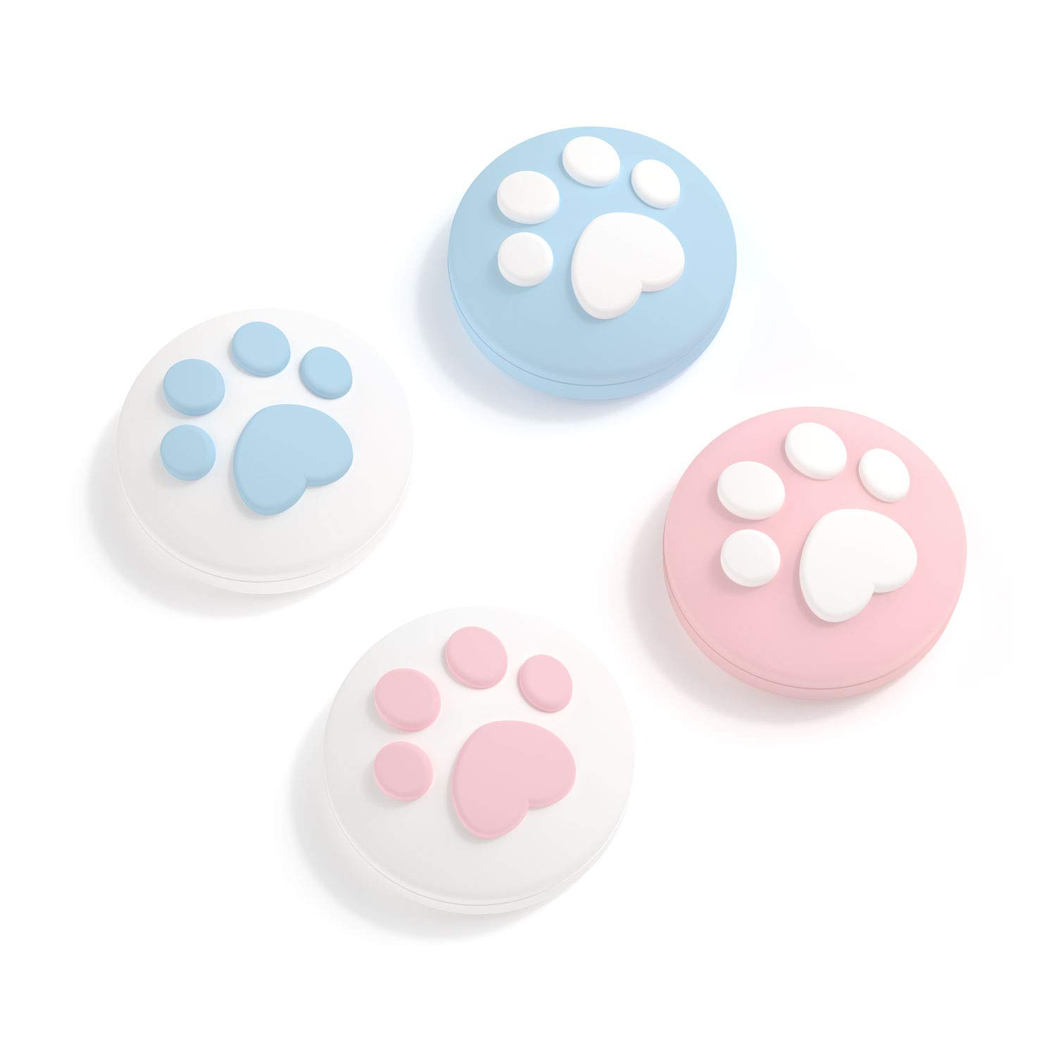 GeekShare 4PCS Silicone Cat Paw Joy Con Thumb Grip Set Joystick Caps for Switch and Switch Lite Thumb Stick Grips (Pink & Blue)