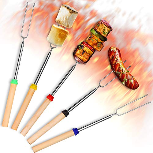Betus Barbecue Forks for Outside Grill, Roasting Stick with 32 Inch Extra Extendable Metal and Wooden Handle - Telescoping BBQ Grill Kid Skewer Campfire Fork Tool for Fire Pit - Set of 5 Pcs