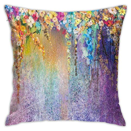 Moily Fayshow Throw Pillow Cushion Cover,Abstract Herbs Weeds Blossoms Ivy Back With Florets Shrubs Decorative Pillow Case 55X55 Cm