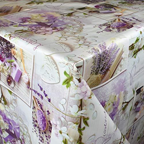 KEVKUS Wachstuch Tischdecke Meterware 173A Lavendel Provence Herzen Sommer Frühjahr wählbar in eckig rund oval (Rand: Paspel (mit Kunststoffband), 100 x 140 cm eckig)