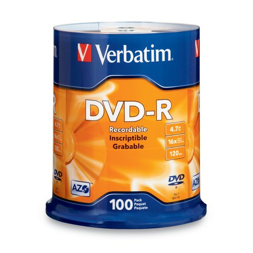 Verbatim DVDR 47GB 16x AZO Recordable Media Disc  100 Disc Spindle FFP