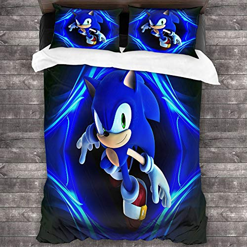 STTYE Bedding 3-Piece Twin Bed Sheets Set, Sonic The Hedgehog Quilt Cover Large 3 Piece Bedding Set Sonic Sonic The Hedgehog Sega Video Games with Ultra Soft and Breathable Comforter Cover