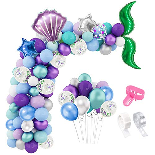 Mermaid Balloons Garland kit 113 Pack, EXV Mermaid Tail Party Decorations for Baby Shower, Birthday Party, Ocean Theme Party, Under The Sea Party Supplies