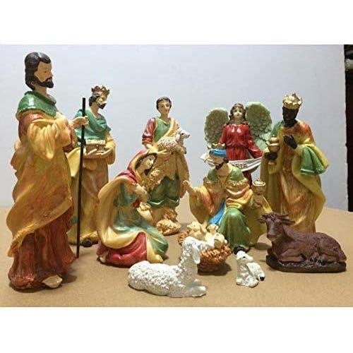 Accesorios Para El Hogar Exquisito 11 Piezas Miniatura Exquisita Escena De La Natividad Navideña En El Pesebre Conjunto Estatuilla Artesanía Hecha A Mano Iluminada Con 20 Led Chalet Decoración De Mes