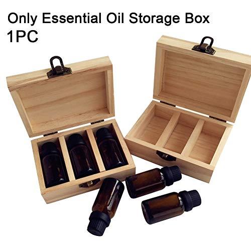 hehsd0 Ätherische Ölbox 3 4 6 Gitterhalter Aromatherapie-Organisator Tragen von Massivholzflaschen-Display Aufbewahrungskoffer Schmuck Großer Bastelbehälter Hauptfach(3)