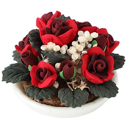 Miniatur Puppenhaus Blume Bonsai Rose Dekoration Garten Room Decor Zubehör