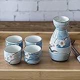 AGGF Juego de Tazas de Sake japonés de 5 Piezas pintadas a Mano con diseño de Flor de Ciruelo, cerámica de Porcelana, Tazas de cerámica Tradicionales, Copas de Vino artesanales