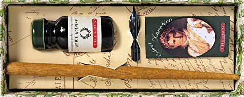 Georges Lalo Kalligraphie-Set Napoleon-Schreibfederhalter + Schreibfeder + Flasche Tinte + Leporello marineblau