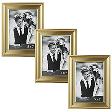 Icona Bay 5 by 7 Picture Frames (5x7, 3 Pack, Gold) Photo Frames, Wall Mount Hangers and Black Velvet Back, Table Top Easel, Landscape as 7x5 Picture Frames or Portrait as 5x7, Elegante Collection