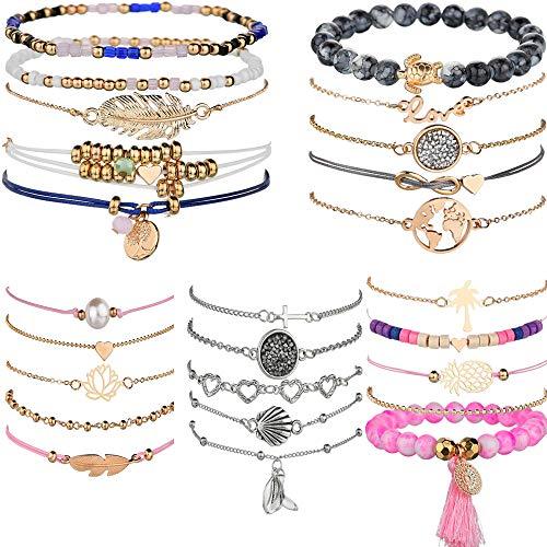 yunanwa 5 Pack (25pcs) Multilayer Bohemian Beaded Bangle Bracelet Crystal Charm Stretch Beach Set Boho Holiday Jewelry