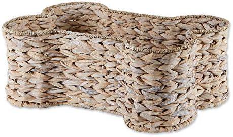 Bone Dry Pet Storage Collection Bone Shape Hyacinth Toy Basket White Wash Medium product image