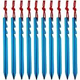 Azarxis Estacas de Tienda de Campaña Heavy-Duty Clavijas Piquetas de Camping para Toldo Lona Refugio Tienda de Campaña (Azul - Y - 18cm)