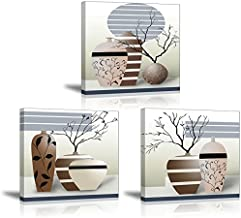 3 Piece Vases Wall Art for Bathroom/Hallway, SZ HD Gorgeous Contemporary Canvas Painting Prints of Modern Pots Picture (Waterproof Home Decor, 1