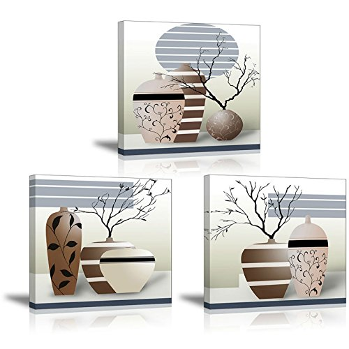 3 Piece Vases Wall Art for Bathroom/Hallway, SZ HD Gorgeous Contemporary Canvas Painting Prints of Modern Pots Picture (Waterproof Home Decor, 1' Thick Frame, Bracket Mounted Ready to Hang)