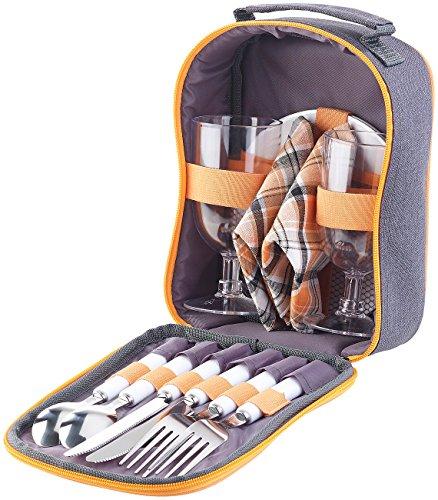 PEARL Picknick Geschirr: Picknick-Set für 2 Personen: Gläser, Servietten, Teller, Besteck (Picknicktasche)