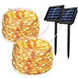 Bripower Solar String Lights Outdoor 100LED, 33Ft Waterproof Copper Wire String Lights 8 Modes, Decorative Fairy Lights for Party, Garden, Yard, Patio, Wedding, Christmas (Warm White, 2 Pack)