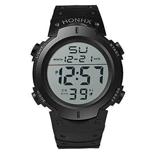 DAY.LIN Uhren Art und Weise wasserdichte Männer Boy LCD Digital Stoppuhr Datum Gummi Sport Armbanduhr (Schwarz)