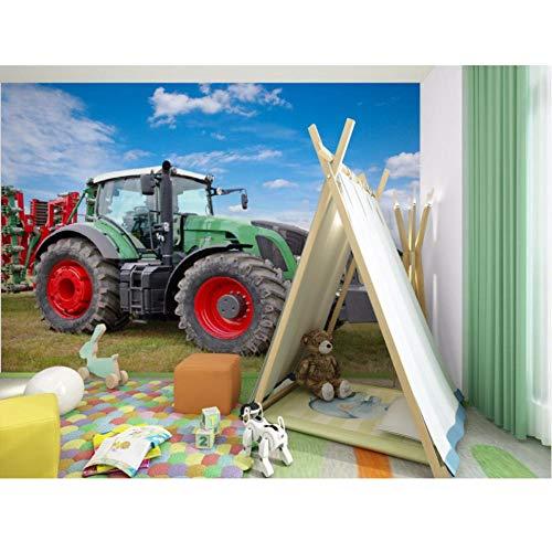 Guokaixyz Fotobehang 3D Foto Muurschildering groen tractor afneembare behang muursticker kunst wooncultuur muurschildering vlies slaapkamer thuis 300x210cm groen