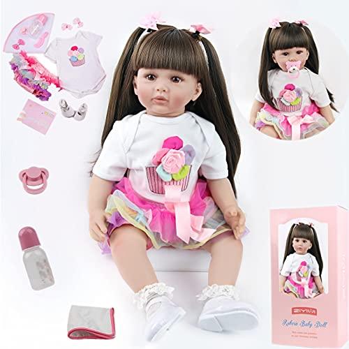 ZIYIUI Bambola Reborn Femmina 24 Pollici 60 cm Realistico Vinile Silicone Morbido Simulazione Bambino Bambole Reborn Toddler Babies Regalo di Natale Compleanno Giocattoli (24 Pollici)