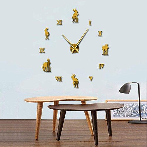 Conejo con números romanos DIY grandes relojes de pared Animales Decoración del hogar Reloj de pared sin marco efecto espejo conejito niños reloj regalo (oro、37 pulgadas)