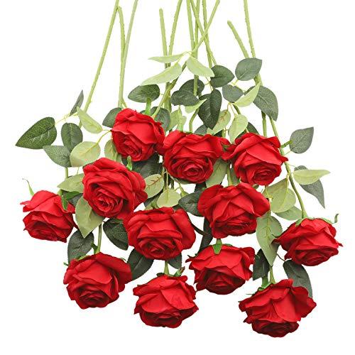 Decpro 12 Piezas de Rosas Artificiales, Flor de Seda de un Solo Tallo Largo de 19.7'' para Ramos de Novia, decoración de Hotel de Oficina, centros de Mesa, arreglos Florales(Rojo)
