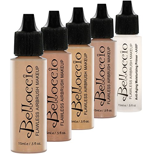 Belloccio Medium Color Shade Foundation Set - Professional Cosmetic Airbrush Makeup in 1/2 oz Bottles