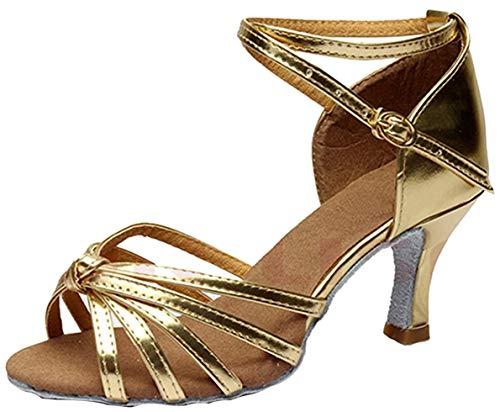 Minetom Damen Pumps Einfarbig Riemen Satin Tanzschuhe Ballsaal Latein Schuhe 5cm Absatz Tango Tanzschuhe mit Absatz Rumba Samba Cowboy Stierkampf Tanzschuhe ( Gold EU 39 )