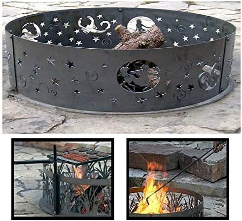 QBC PD Metals Steel Campfire 5 ☆ popular Ring Sales for sale F Zodiac Design with Unpainted
