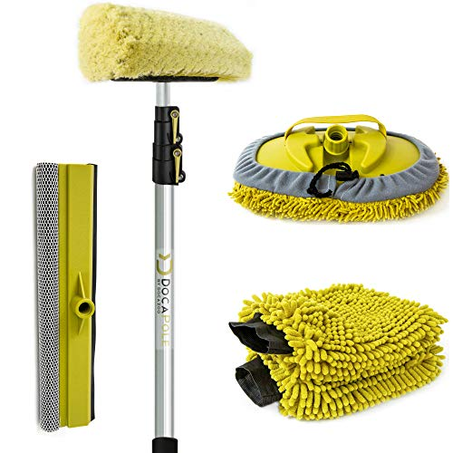 DocaPole 5-12 Foot Car Cleaning Kit | Car Wash Kit with Soft Car Wash Brush, Car Squeegee, Car Wash Mitt (2X), Microfiber Cleaning Head & 12' Extension Pole | Car Detailing Kit with Long Handle